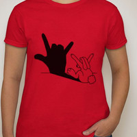 I Love You Sign Language Shirt, Valentines Day, Valentines gifts, gifts, birthday, gifts for him, gifts for her, sign language, bunnies, ily