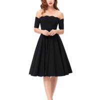 Womens Red Green or Black 1950s Rockabilly Mod Retro Style Ball Gown Dresses Size S-XL