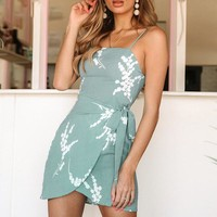 Floral Print Short Dress Women Casual Strap Sleeveless Female Dress
