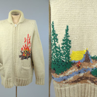 70s Cowichan Sweater Campfire Hand Knit Wilderness Chunky Knit Wool Shawl Collar Winter Sweater