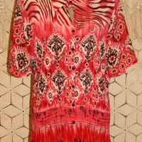 Plus Size Bohemian Top Red Tie Dye Tribal Print Blouse Animal Print Casual Short Sleeve Tops Size 26 Size 28 2X 3X Womens Plus Size Clothing