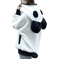 Winter 2016 Korean Winter Lovely Zipper Panda Plush Batwing sleeve Female students Outwear Hoodies Plus size Free shipping