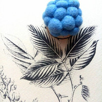 Felted light blue Hydrangea brooch, floral lturquoise ooak pin, needle felted abstract bag pin
