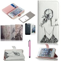 ATC Lumsing(TM) Art Series Vintage Retro Paris France Eiffel Tower & Girls PU Leather Wallet Type Magnet Design Flip Case Cover Credit Card Holder Pouch Case for IPhone 5 iPhone 5S with Screen Protector+ Stylus (wallet case Girl Painting in White)