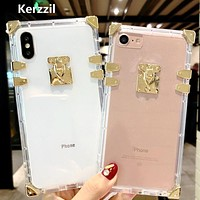 Kerzzil Luxury Clear Crystal Soft Silicone Cases For iPhone 6 6S Plus 7 7 Plus Phone Case Square TPU For iPhone X 8 8 Plus Case