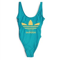 Adidas SWIMMER SWIM TAN TOP VEST SHIRT V NECK WOMEN LETTERS BOTTOMING CLOTHES