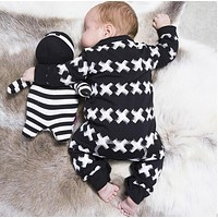 Baby Clothes Set Male Cotton With Long Sleeves Cross Pattern Toddlers Sliders newborn baby boy girl fitted