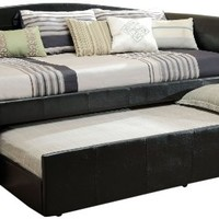 Furniture of America Elliss Leatherette Upholstered Daybed with Twin Trundle, Black
