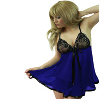 Blue Bead Accent Lace Mesh Babydoll Lingerie