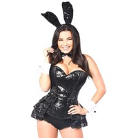 Daisy Top Drawer 5 PC Sequin Tuxedo Bunny Corset Costume