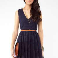 Lacey Sunday Belted Dress in Blue :: tobi