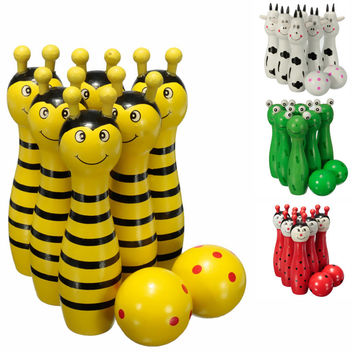 New Arrival Lovely Mini Cartoon Wooden Bowling Ball Skittle Game Cute Animal Shape For Kids Children Toys 11.5x2.8cm 4Color