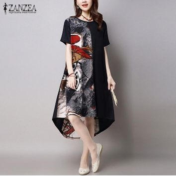 Women Vintage Print Dress Casual Loose O Neck Short Sleeve