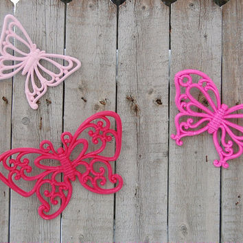 Pink upcycled butterflies