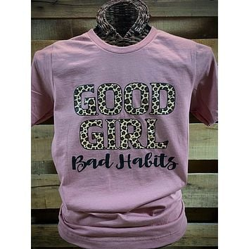 Southern Chics Apparel Good Girl Bad Habits Leopard Canvas Girlie Bright T Shirt
