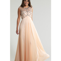 Dave & Johnny 808 Peach Embellished Open Back Chiffon Gown 2015 Prom Dresses