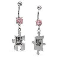 014 Gauge Pink Cubic Zirconia Best Friends Two Piece Belly Button Ring Set in Stainless Steel - - View All - PAGODA.COM