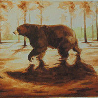 Bear Forest Watercolor Painting Original 9x12