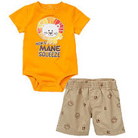 Koala Baby Boys' 2 Piece Orange Lion Playwear Set with Bodysuit and Shorts