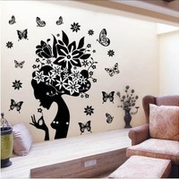 Pretty Butterfly Flower Fairy Girl Removable PVC Wall Sticker Home Decor Decals:Amazon:Home & Kitchen