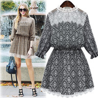 Cream Pattern Lace Ruffle-Sleeve Drawstring Waist Dress