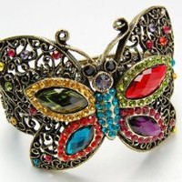Vintage Inspired Crystal Rhinestone Colorful Bead Butterfly Bracelet Bangle Cuff: Jewelry: Amazon.com