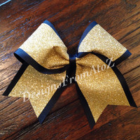 2 tone Black and Gold Sparkle Cheer Bow