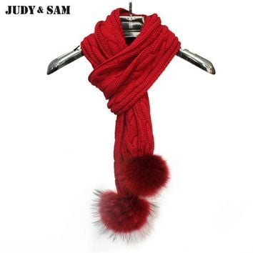 CREYONHS Hotsale 2015 Gifts Women Knitting Infinity Long Scarf Muffler Scarves Real Raccoon Fur Pom Pom Brand Solid Color Men's Scarf