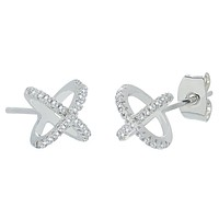 """Paige """"Exhilerating"""" 18k White Gold X Ring Pave Stud Earrings"""