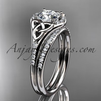 14kt white gold diamond celtic trinity knot wedding ring, engagement set CT7126S