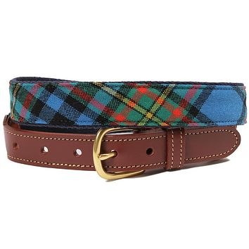 Giles Tartan Leather Tab Belt by Country Club Prep
