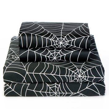 Black Spider Web Sheet Sets - Halloween Home by Sin in Linen