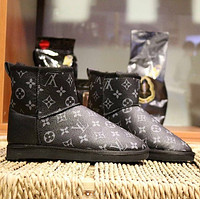 LV Louis vuitton UGG men women's mid cut snow boots with full letters Shoes