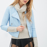 Zippered Faux Leather Bomber