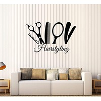 Vinyl Wall Decal Hairstyling Barber Tools Hair Salon Stylist Stickers Unique Gift (575ig)