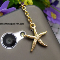 starfish iPhone 5S 5 4S 4 charm,3.5mm dust proof plug with golden cute starfish charms,phone decoration
