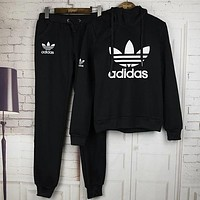 Adidas Sleeve Shirt Sweater Pants Sweatpants Set Two-Piece Sportswear
