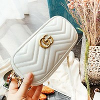 GUCCI New fashion leather leisure chain high quality shoulder bag women White