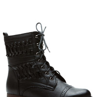 Twisted Lands Black Lace Up Boots
