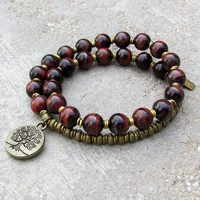Red Tiger's Eye Gemstone 27 Bead Mala Bracelet with Tree Of Life Charm