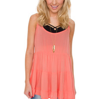 Stevie Babydoll Top - Coral