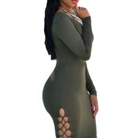 Oliver Green Sexy V Neck Lace Up Sides Bodycon Dress