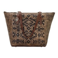American West Mystic Shadow Zip Top Charcoal Brown Bucket Tote 3083947