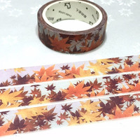 maple washi tape 7M autumn fall leaf scenes natural maple scenery masking tape fall leave decor scrapbook gift golden leaf sticker tape gift
