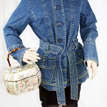 Vintage Belted Denim Jacket