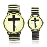 Vintage Style Cross Logo Couple Lovers Watches Color Bronze