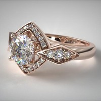 14K Rose Gold Art Deco Geometric Diamond Engagement Ring