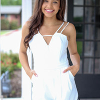With a Little Lace Romper - Ivory