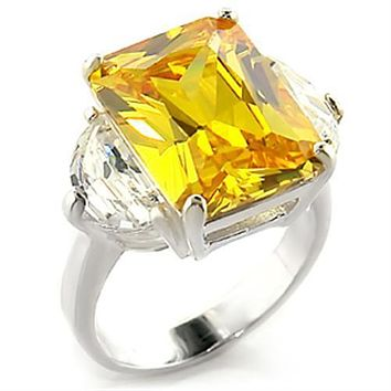 Sterling Silver Band Rings LOAS828 - 925 Sterling Silver Ring in Citrine