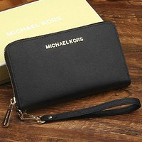 mk micheal kors women leather zipper wallet purse wrist bag black